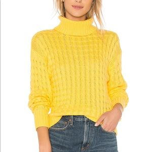 Yellow Tularosa Cable Knit Turtleneck Sweater